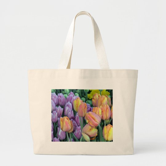 Bunch of colorful tulips large tote bag