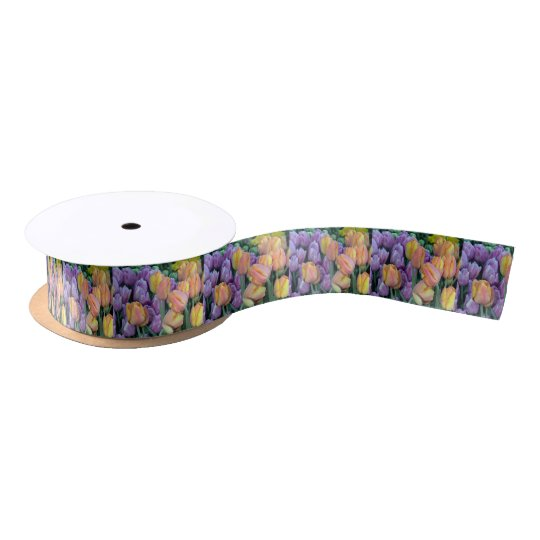 Bunch of colorful tulips satin ribbon