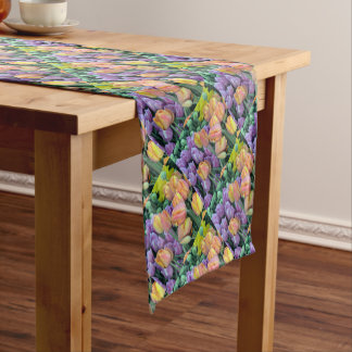 Bunch of colorful tulips short table runner