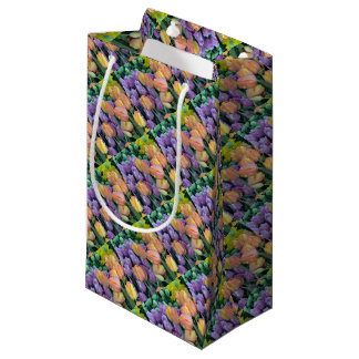 Bunch of colorful tulips small gift bag