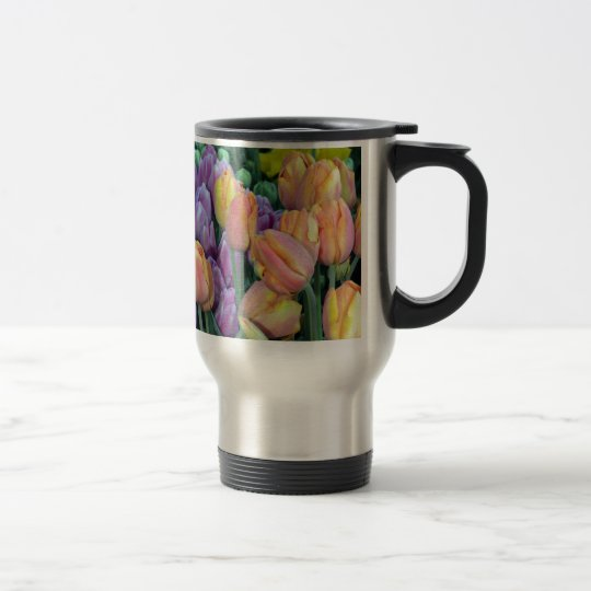 Bunch of colorful tulips travel mug