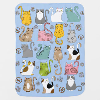 Bunch of Cute and Fun Cats Baby Blankets