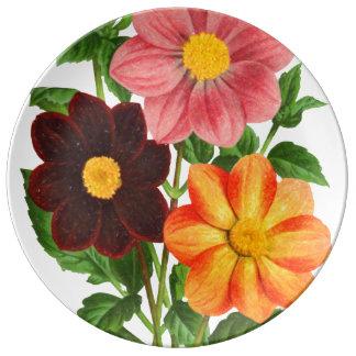 Bunch Of Dahlias Plate