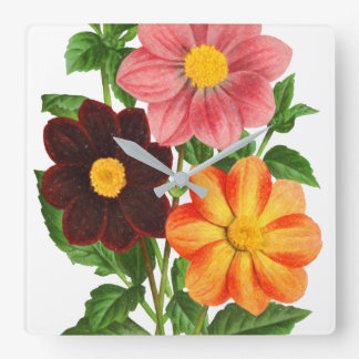 Bunch Of Dahlias Square Wall Clock