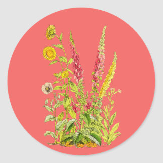 Bunch of flowers classic round sticker