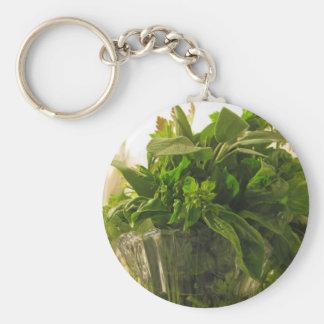 Bunch of fresh herbs from garden basic round button keychain