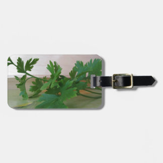 Bunch of fresh parsley on the table luggage tag