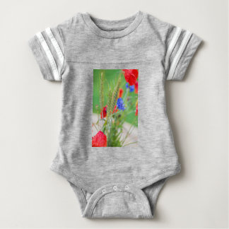 Bunch of of red poppies, cornflowers and ears baby bodysuit