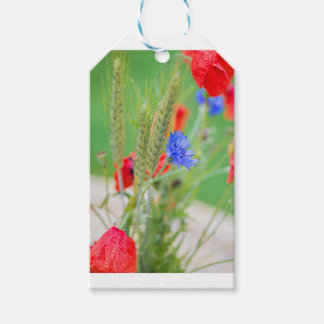 Bunch of of red poppies, cornflowers and ears gift tags