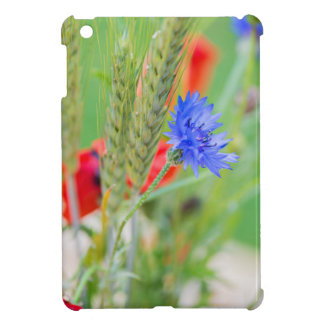 Bunch of of red poppies, cornflowers and ears iPad mini case