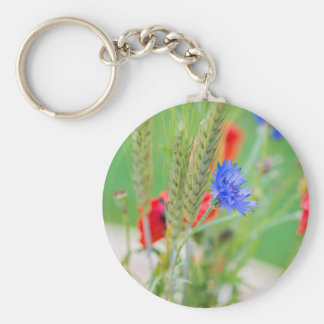 Bunch of of red poppies, cornflowers and ears keychain