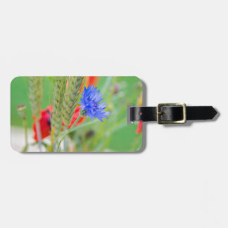 Bunch of of red poppies, cornflowers and ears luggage tag