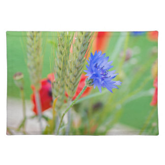 Bunch of of red poppies, cornflowers and ears placemat