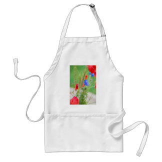Bunch of of red poppies, cornflowers and ears standard apron