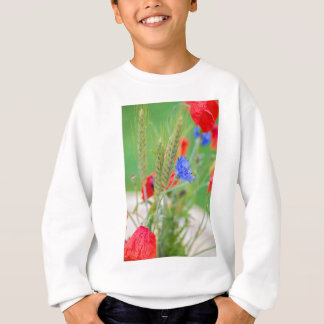 Bunch of of red poppies, cornflowers and ears sweatshirt