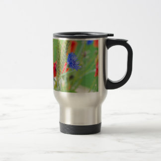 Bunch of of red poppies, cornflowers and ears travel mug