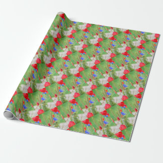 Bunch of of red poppies, cornflowers and ears wrapping paper