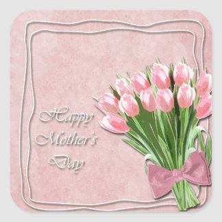Bunch of Pink Tulips mother's Day Square Sticker