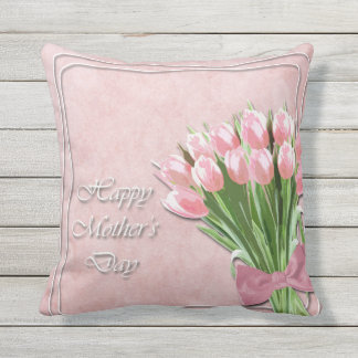 Bunch of Pink Tulips mother's Day Throw Pillow