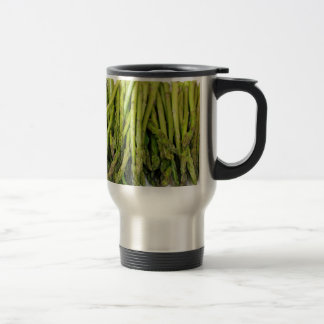 Bunch of Raw Asparagus on White Travel Mug