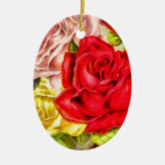 Bunch Of Roses Watercolor Ceramic Ornament