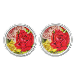Bunch Of Roses Watercolor Cuff Links
