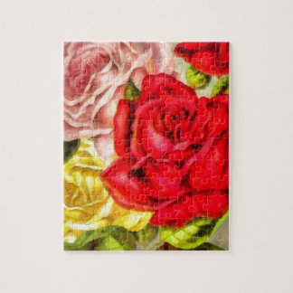 Bunch Of Roses Watercolor Jigsaw Puzzle