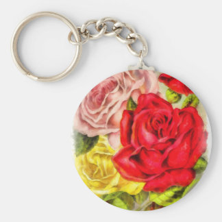 Bunch Of Roses Watercolor Keychain