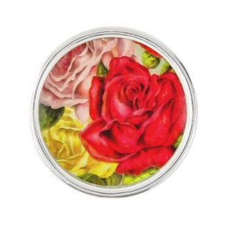 Bunch Of Roses Watercolor Lapel Pin