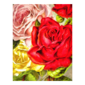 Bunch Of Roses Watercolor Letterhead