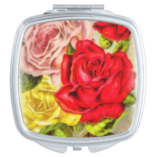 Bunch Of Roses Watercolor Mirror For Makeup