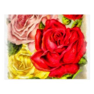 Bunch Of Roses Watercolor Postcard