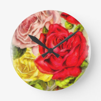 Bunch Of Roses Watercolor Round Clock