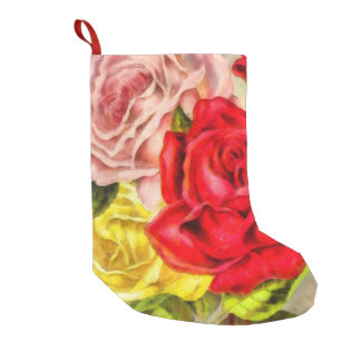 Bunch Of Roses Watercolor Small Christmas Stocking