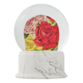 Bunch Of Roses Watercolor Snow Globe