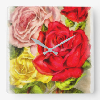 Bunch Of Roses Watercolor Square Wall Clock