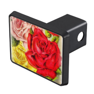 Bunch Of Roses Watercolor Trailer Hitch Cover