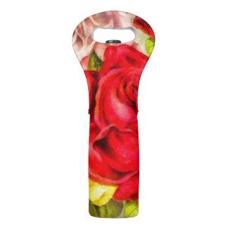 Bunch Of Roses Watercolor Wine Bag