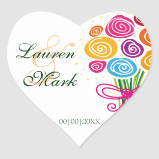 Bunch of Spring Flowers Save the Date Heart Sticker