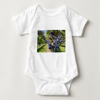 Bunches of blue grapes with path baby bodysuit