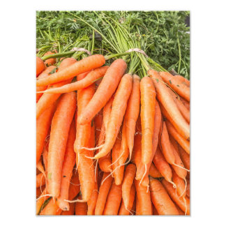 Bunches of Bright Orange and Green Carrots Photograph