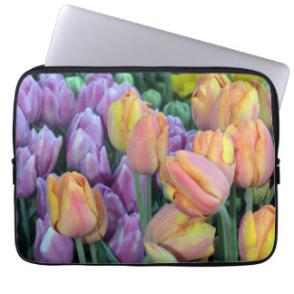 Bunches of colorful spring tulips laptop sleeve