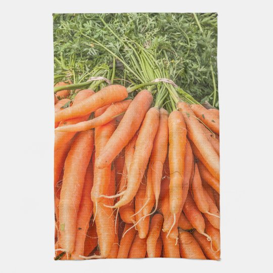 Bunches of Fresh Carrots Kitchen Towel