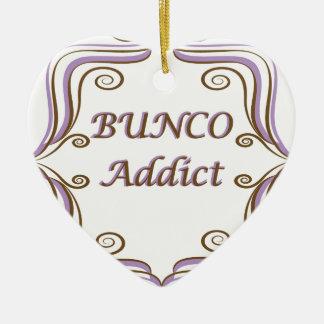 Bunco Addict Ceramic Heart Ornament