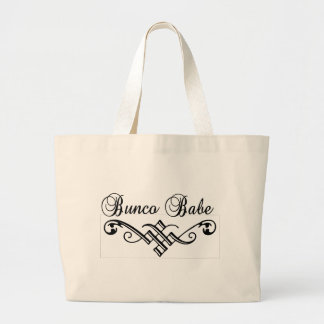bunco babe with black lettering large tote bag