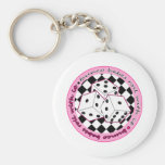 Bunco Babes Roll With It - Pink Basic Round Button Keychain
