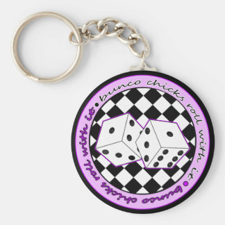 Bunco Chicks Roll With It - Purple Keychain