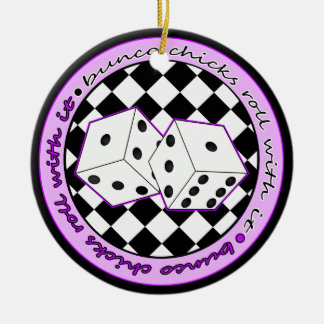 Bunco Chicks Roll With It Purple - One Sided Ceramic Ornament