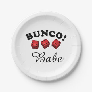 Bunco Dice and Babe Paper Plate