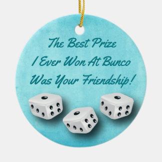 Bunco Friendship Dice Watercolor Christmas Ceramic Ornament
